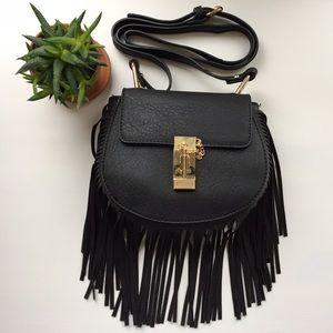 Black Fringe Handbag with Gold Hardware ✨