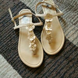 Floral tan sandals
