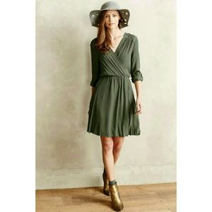 ANTHROPOLOGIE Maeve army green wrap dress size xs