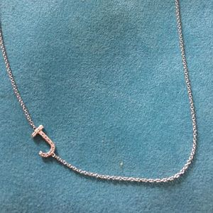 Letters by Zoe Jewelry - White gold Diamond accented J slanted necklace