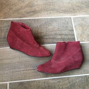 BC Footwear Shoes - BC Footwear Burgundy Suede Booties - 8