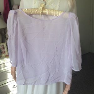 Uncommon Tops - Gorgeous lavender sheer chiffon boat neck blouse S