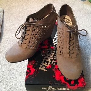 Fergalicious by Fergie Taupe Wedge Booties