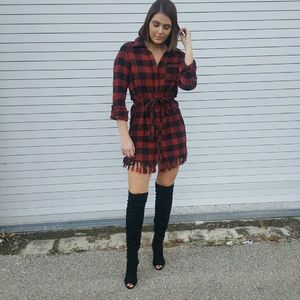 Flannel button up dress with fringe hem