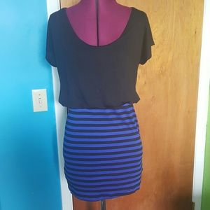 rhapsody Tops - Blue and black striped tunic