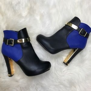 Shoe Dazzle Shoes - Shoedazzle Black Blue Leather Gold Ankle Boots