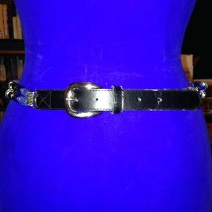 Leather & Beads Black & Blue Belt