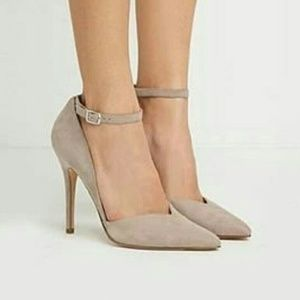 FOREVER 21 Taupe ankle strap pump heels