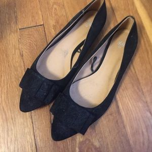 Worn Once Faux Suede Bow Flats