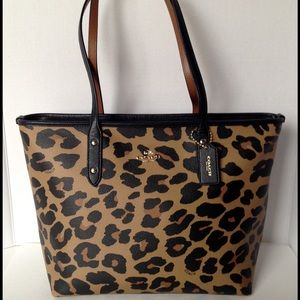 Coach City Zip Tote Leopard Print