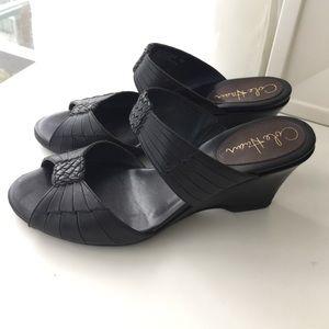 Cole Haan black leather slip on wedges 7.5