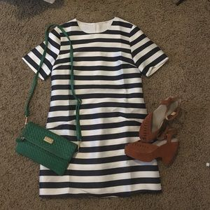 White/ navy striped shift dress with accessory