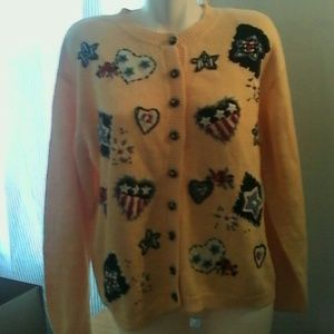 Heirloom Collectibles Sweaters - Heirloom Collectibles Cardigan Sweater Hearts XL