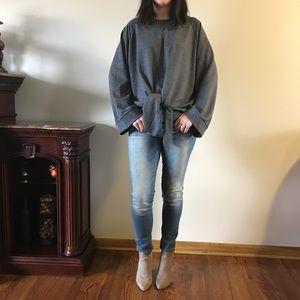 Sweaters - Oversized Front Tie Bell Sleeve Sweatshirt