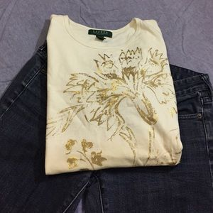 Ralph Lauren Tops - Lauren gold design tee
