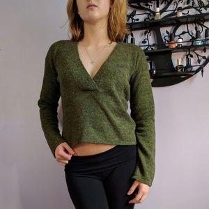 Emporio Armani Sweaters - Emporio Armani Wool Green V-Neck Sweater