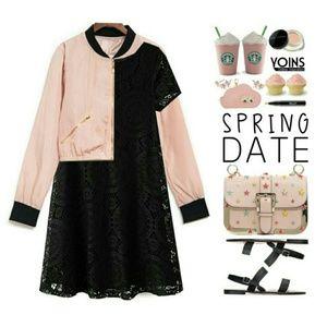 Dresses & Skirts - ⬇Pretty Black Lace Dress w/ Pink Bow Belt