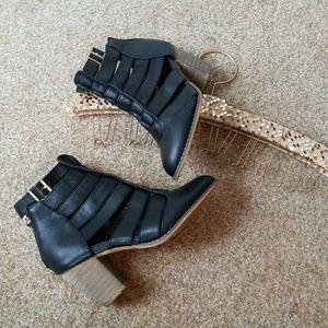 Bucco Cutout Ankle Straps Heel Narrow Booties