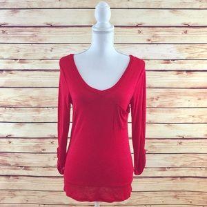 Make Bundle Offer • Red V-neck Pocket T-shirt