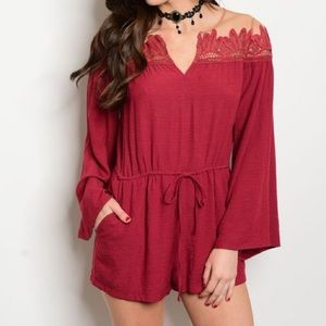 Tea n Cup Pants - *LAST ONE* New S red illusion romper