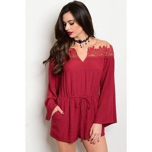 Tea n Cup Pants - New S red illusion romper