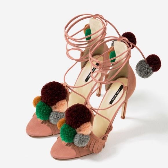 1hr Zara Leather Pom Pom Heels   Poshmark