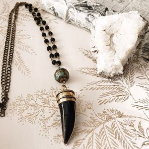 🆕 lava & tibetan horn boho global necklace