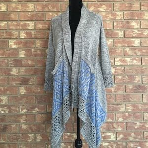 Sweaters - High Low Gray Crochet Cardigan