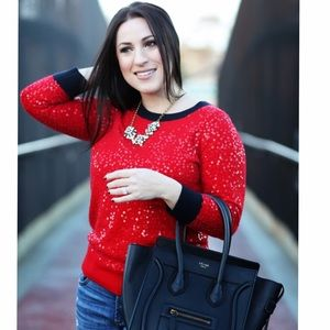 Jcrew Scattered Sequin Sweater Red/Navy