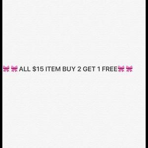 $15 Items BUY 2 GET 1 FREE