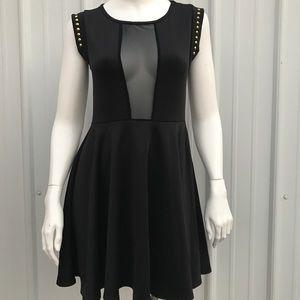 Black Mesh Peekaboo Skater Dress