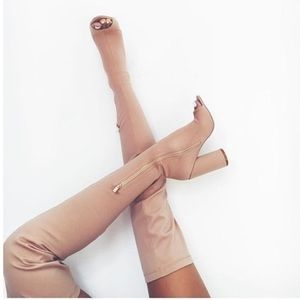 Tan Suede Over the Knee Boots