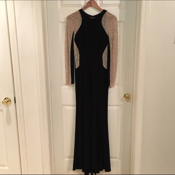 01baf904 Xscape Dresses | Long Sleeve Beaded Illusion Gown | Poshmark