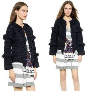 Thakoon Jackets & Blazers - Thakoon Fringed Navy Cardigan Jacket. Like New!