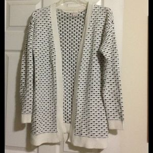 White and black open cardigan