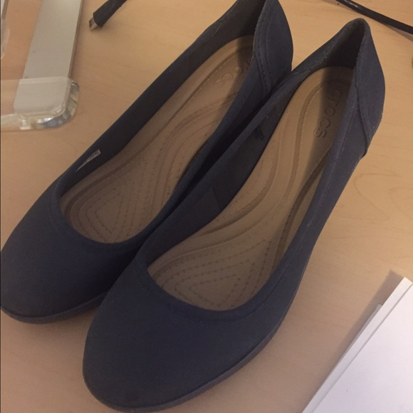 67a83cb55c CROCS Shoes | Lina Wedge Heels Navy | Poshmark