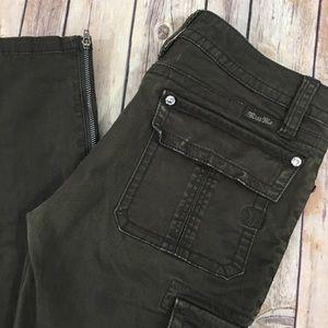 Miss Me Pants - Miss Me Skinny Cargo Pants 27 Green Crystals Zip