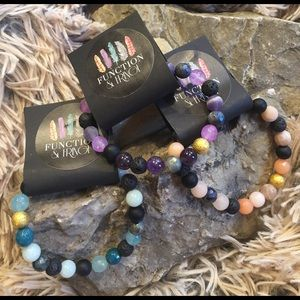 Function & Fringe Jewelry - Gemstone and Lava Stone Diffuser Stretch Bracelet