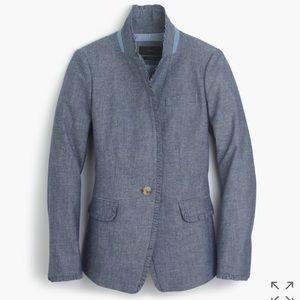 J. Crew Jackets & Blazers - Campbell blazer in chambray with ruffle trim