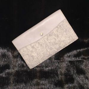 Skagen Handbags - Skagen Pale Gray Felt and Leather Billfold Wallet
