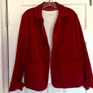 Talbots Jacket 16 short cherry red corduroy lined