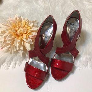 Carlos Santana Shoes - Carlos Santana Red Strappy Sandals