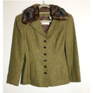 Vintage Dana Buchman tweed fur collar blazer 4