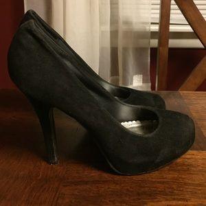 Black velvet texture heels
