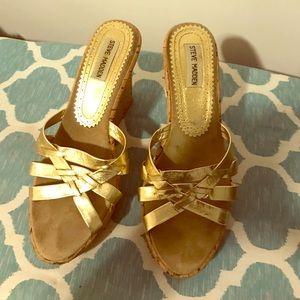 Classic Steve Madsen Gold Wedge Sandals