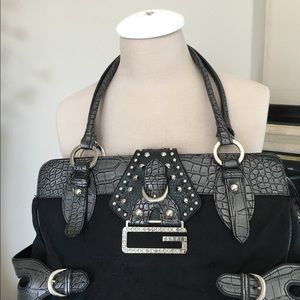 Guess by Marciano Handbags - GUESS satchel: vintage black w/sparkle 'G'