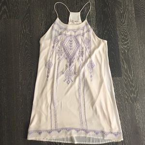 Altard State Off  White Dress w/ Violet embroidery