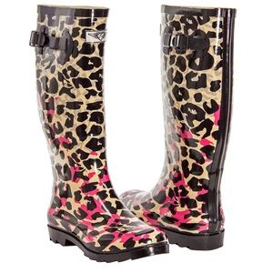 Forever Young Shoes - Women Knee High Pink Leopard Rainboots RB1404