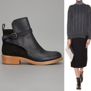 Acne Shoes - ACNE Clover Suede & Leather Ankle Boots