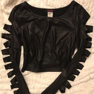 Blush Tops - Black Leather Long Sleeve Crop Top
